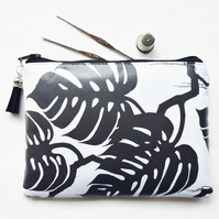 Waterproof zipper,monochrome pouch, botanical print,cheese plant,green gifts.