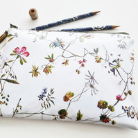 Large Vegan Oilcloth Waterproof Botanical print Washbag,floral cosmetic bag,flow