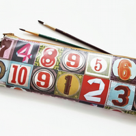 Art gifts, Waterproof eco Pencil Case, pencil brush bag,numbers print
