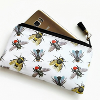 Phone sleeve,phone pouch,phone wallet,phone storage,bee fabric,oilcloth fabric