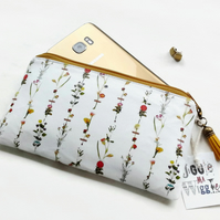 Phone sleeve,phone pouch,phone wallet,phone storage,botanical print,oilcloth