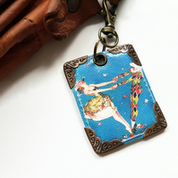 Harlequin keyring,bag charm, purse charm,bag tag,bag accessory,key chain,
