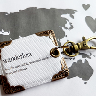 Wanderlust keyring,bag charm, purse charm,bag tag,bag accessory,key chain,