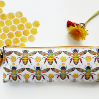 Art gifts, Waterproof Pencil Case, Honey bee print, bumble bees fabric,vegan