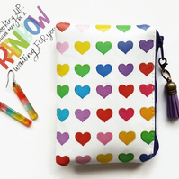 Rainbow love hearts coin purse,business card holder, credit card Wallet, coin po