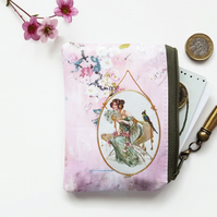 Chinoiserie vegan leather coin purse,business card holder, credit card Wallet