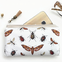 Vegan leather Phone sleeve,phone pouch,phone wallet,bugs,insects fabric,oilcloth