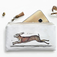 Vegan leather Phone sleeve,phone pouch,phone wallet,hares,rabbits,wildlife