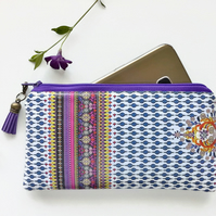 Vegan leather Phone sleeve,phone pouch,phone wallet,Indian,boho,gypsy fabric