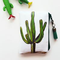Cactus fabric coin purse,cacti wallet,credit card pouch,pvc free wallet,vegan