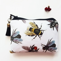 Bees fabric coin purse,bumble bee wallet,credit card pouch,pvc free wallet,vegan