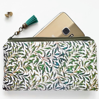 Vegan leather Phone sleeve,phone pouch,phone wallet,greenery,leaves fabric