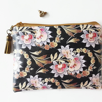 Water resistant black floral wallet,zipper purse,peach and black.