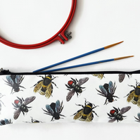 Back to school,bees fabric,water resistant pencil case,vegan leather bag.