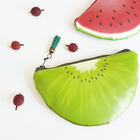 Kiwi fruit wallet,water resistant colour pop pouch,vegan leather purse