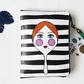 Vegan faux leather zipper wallet,dolls fabric,doll face,doll print wallet,eco