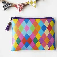 Faux leather wallet,harlequin print,eye candy pouch,vegan gift idea,