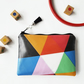 Colour block Faux leather vegan vinyl wallet,color-blocking design,colourful bag