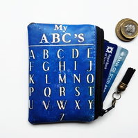 Stocking Fillers, Waterproof credit card sized wallet,vintage ABC,business card