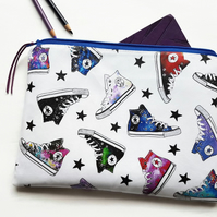 Faux leather washbag,galaxies,stars,converse fabric.