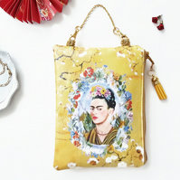 Frida Khalo hanging bag,faux leather wallet,small makeup bag,floral vegan pouch.