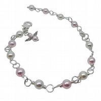 Girl's Pearl Bracelet with Angel
