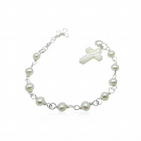 Girl's Freshwater Pearl Bracelet with Mother of Pearl Cross