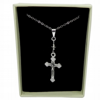 Silver Plated Crucifix Pendant & Chain