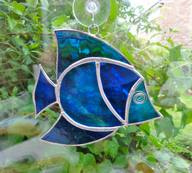 Stained glass fish suncatcher folksy for Stained glass fish