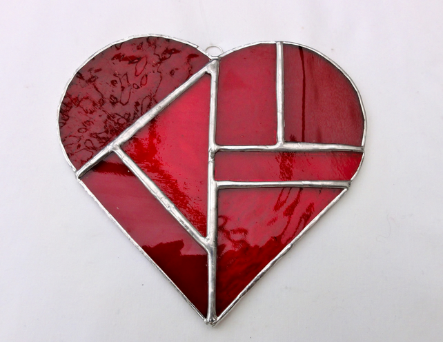 Large Stained Glass Heart Suncatcher - Red