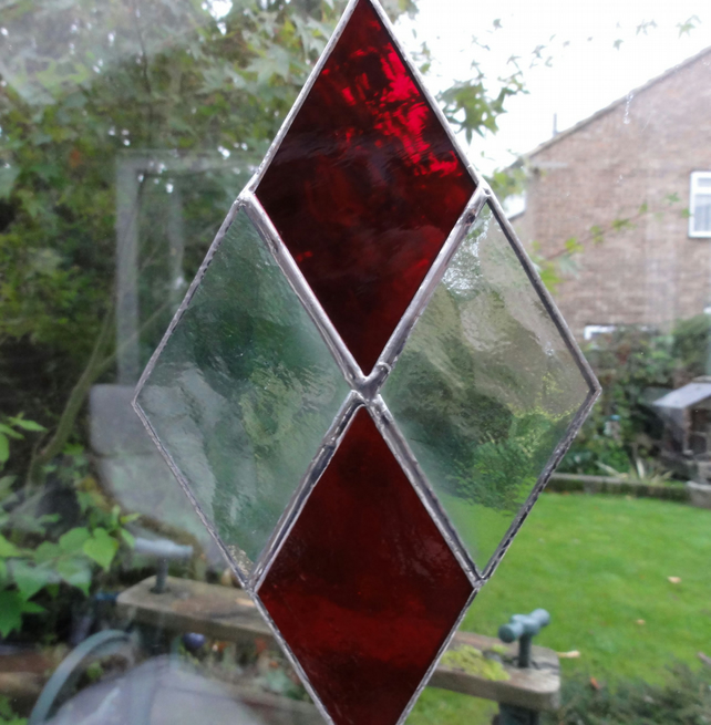 Diamond Stained Glass Suncatcher - Red and Clear - SALE