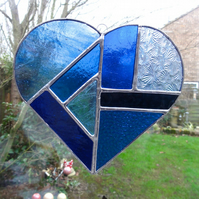 Large Stained Glass Heart Suncatcher - Blue and Turquoise