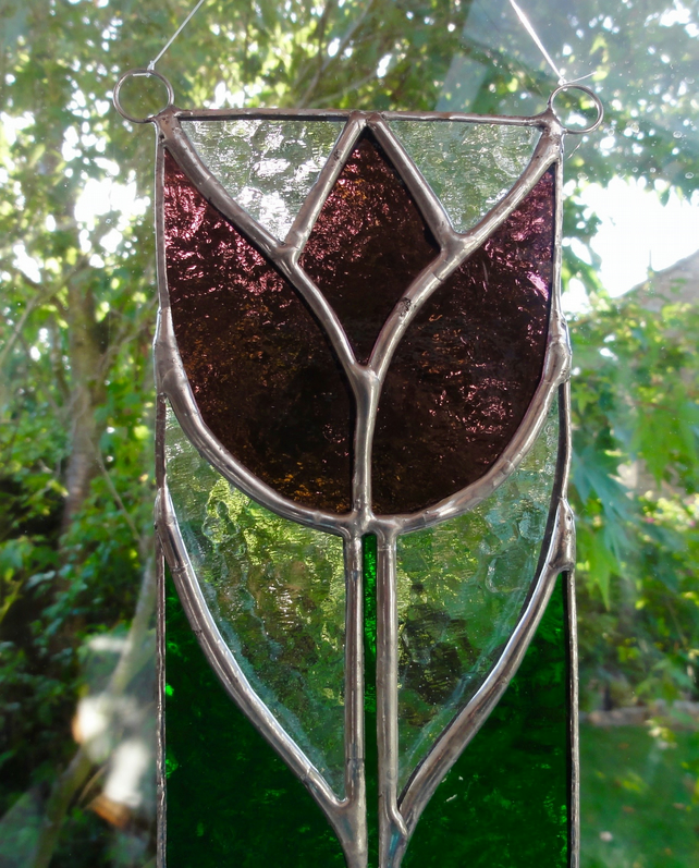 Stained Glass Tulip Panel Suncatcher - Dark Rose