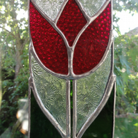 Stained Glass Tulip Panel Suncatcher - Red