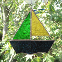 SALE - Stained Glass Sail Boat Suncatcher - Green and Amber