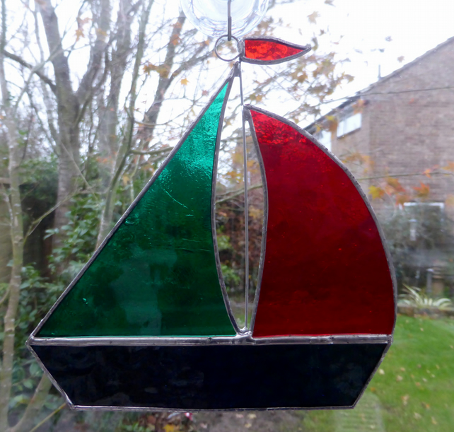 Stained Glass Large Sailing Boat Suncatcher