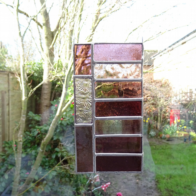 Stained Glass Suncatcher Panel  - Pink