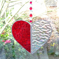 Stained Glass Heart Suncatcher - Red and Clear