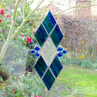 Diamond Stained Glass Suncatcher - Blue and Green Streaky