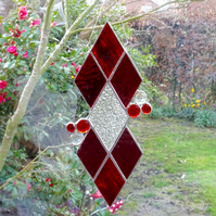 Diamond Stained Glass Suncatcher - Red