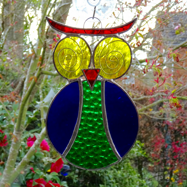 Stained Glass Owl Suncatcher