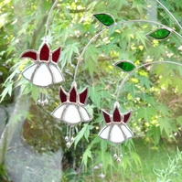 Stained Glass Fuchsia Suncatcher - Red and White