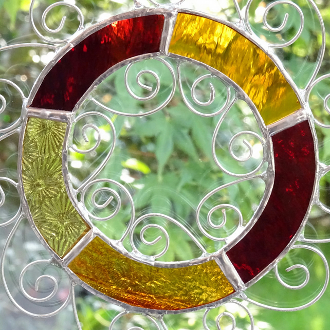 Stained Glass Letter O Suncatcher - Red Orange and Amber