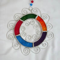 Stained Glass Letter O Suncatcher - Mulit