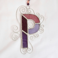 Stained Glass Letter P Suncatcher - Purple and Pink