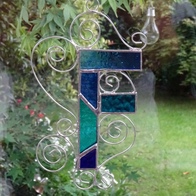 Stained Glass Letter F Suncatcher - Blue