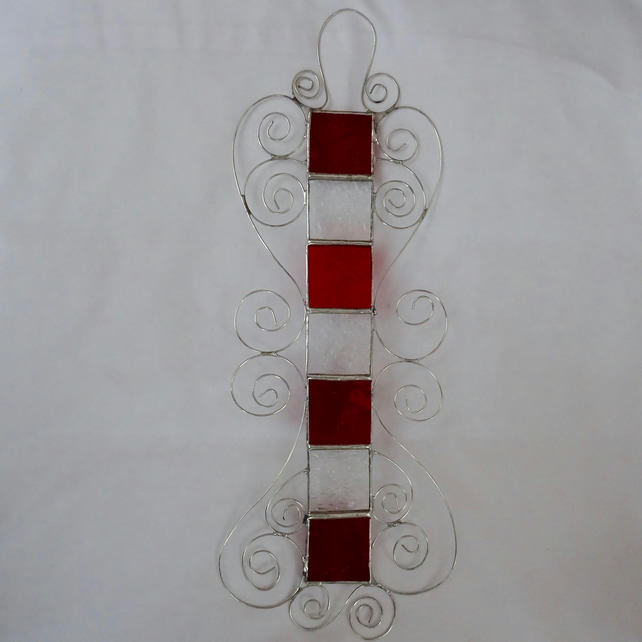 SALE - Stained Glass Strip - Red and Clear