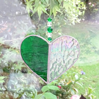 Stained Glass Heart Suncatcher - Green and Clear