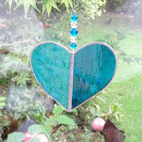 Stained Glass Heart Suncatcher - Turquoise