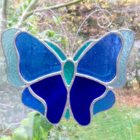 Stained Glass Butterfly Suncatcher - Handmade Handing Decoration - Blue